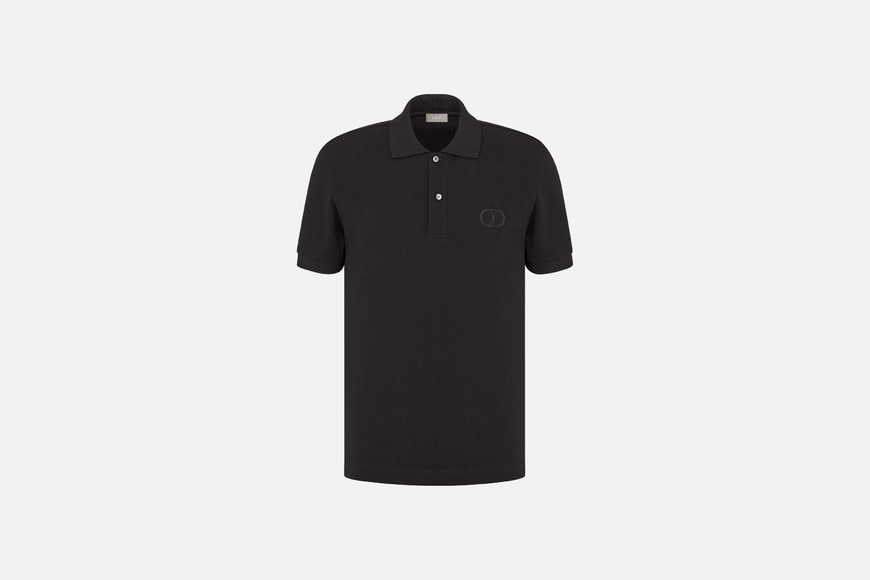 Black Cotton Piqué Polo Shirt with 'CD Icon' Logo front view