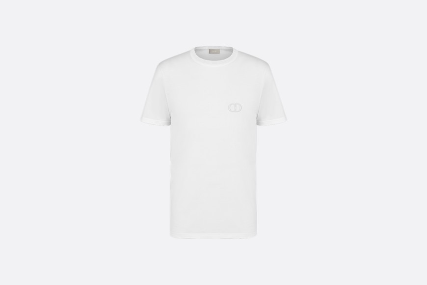 White Cotton T-Shirt with 'CD Icon' Logo front view