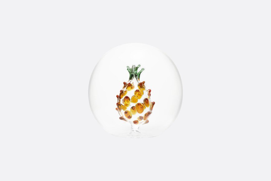 Small Decorative Glass Ball with Ochre and Green Pineapple front view Open gallery