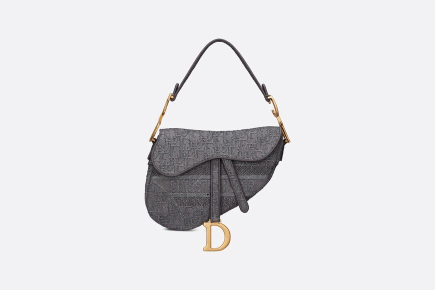 Gray Saddle Denim Bag with Dior Oblique Embroidery front view