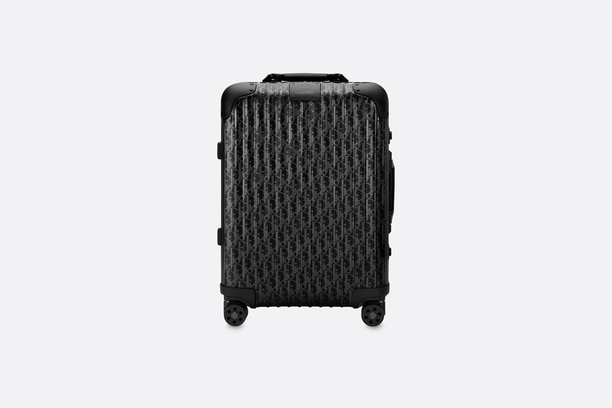 Black DIOR and RIMOWA Cabin Suitcase in Dior Oblique Aluminum aria_frontView