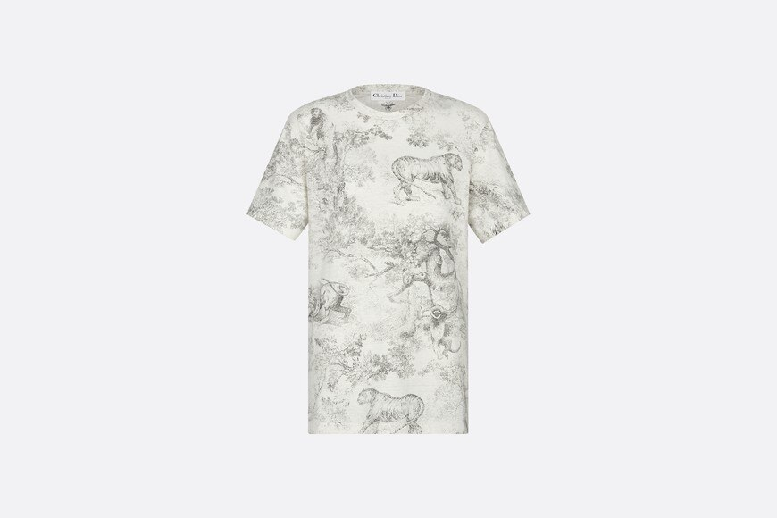 Gray Dioriviera Linen and Cotton T-shirt with Toile de Jouy Print aria_frontView