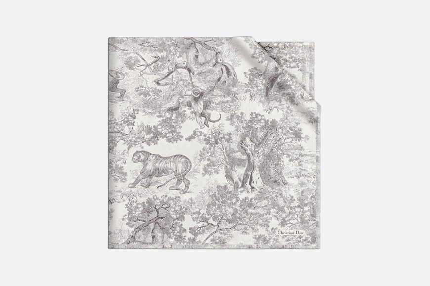 Toile de Jouy Large Square Scarf Front view Open gallery