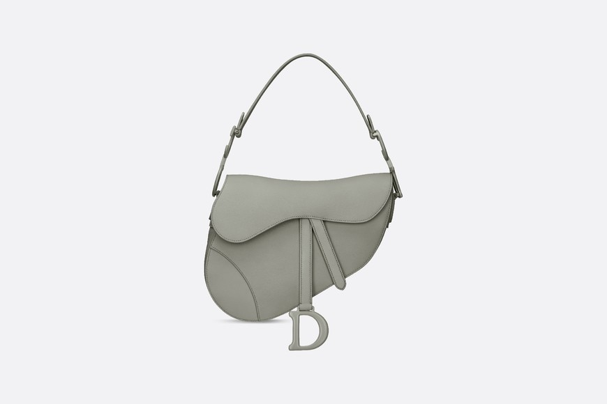 Gray Stone Saddle Matte Calfskin Bag aria_frontView