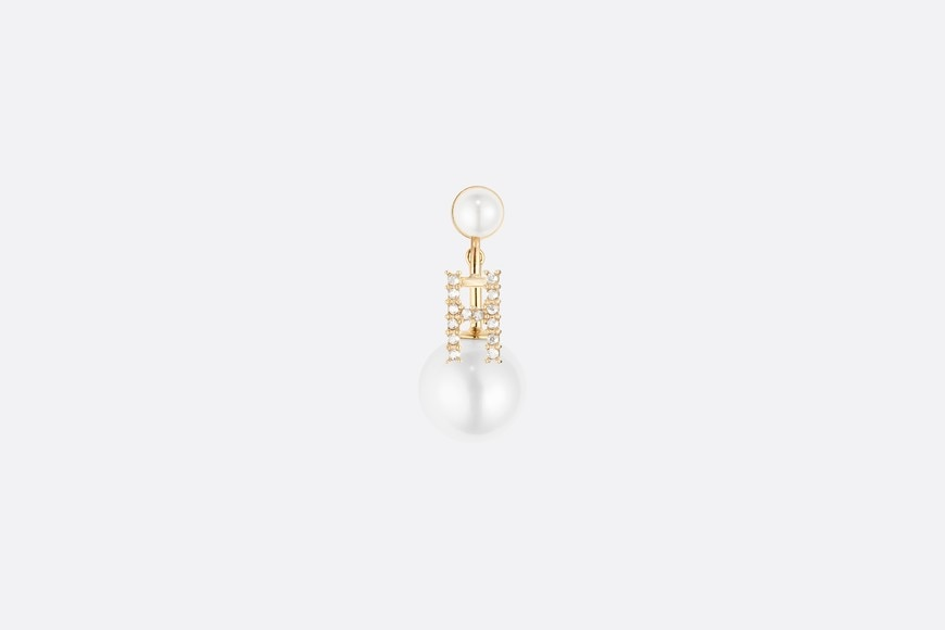 White Crystal Letter 'H' My ABCDior Tribales Gold Finish Earring aria_frontView