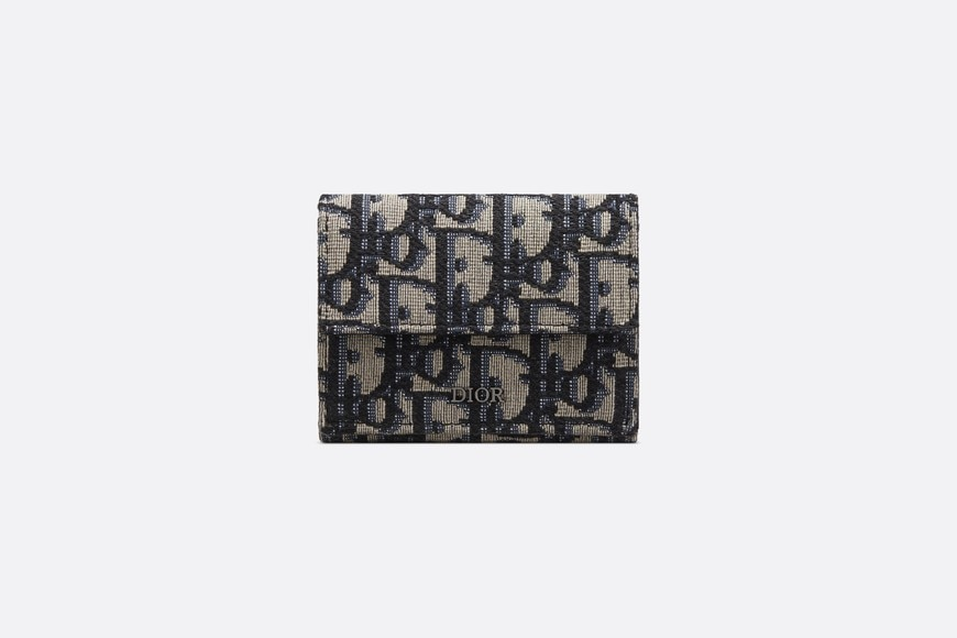 Beige and Black Dior Oblique Jacquard Compact Wallet front view