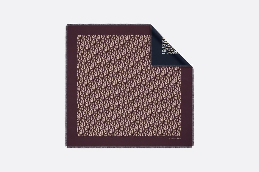 Dior Oblique burgundy and navy blue square scarf aria_frontView