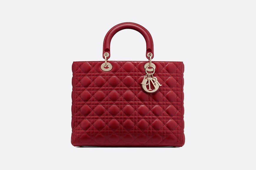 Large Cherry Lady Dior Lambskin Bag aria_frontView
