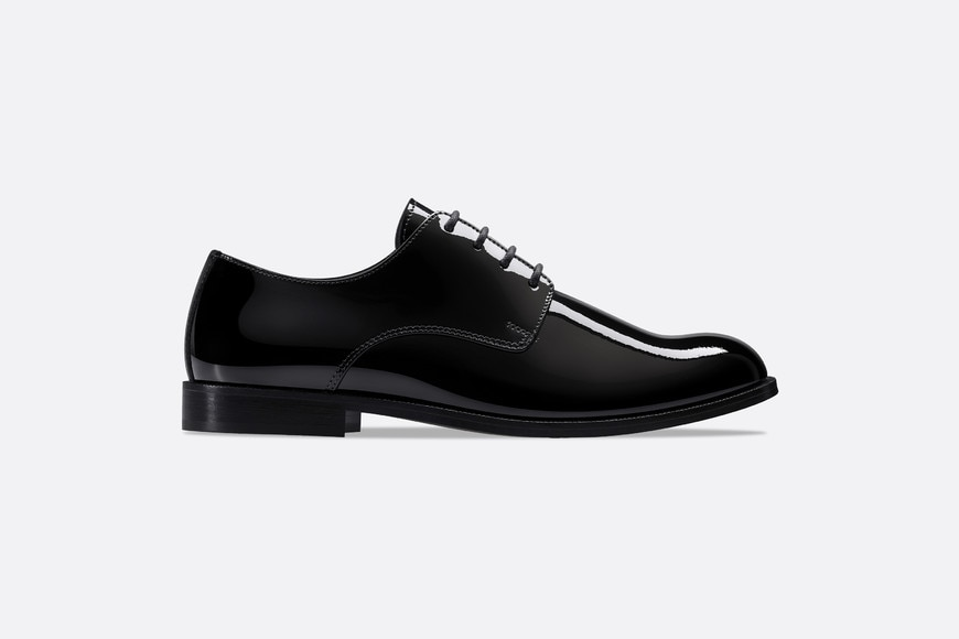 Derby shoes in black patent calfskin leather aria_profileView