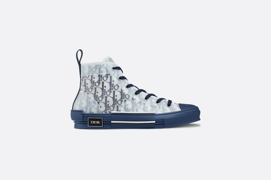 B23 High-Top Sneaker in Blue Dior Oblique profile view