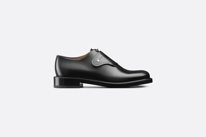 Saddle Monk Derby Shoe in Black Calfskin profile view