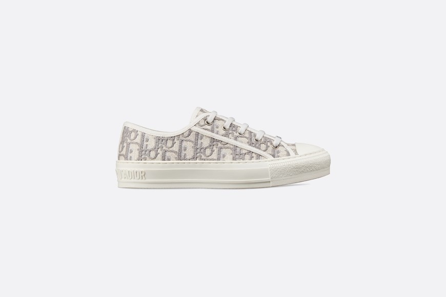 Gray Walk'n'Dior Dior Oblique Embroidered Cotton Sneaker profile view
