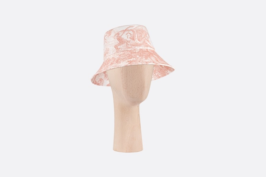 Pink Dioriviera Toile de Jouy Large Brim Cotton Denim Bucket Hat three quarter closed view