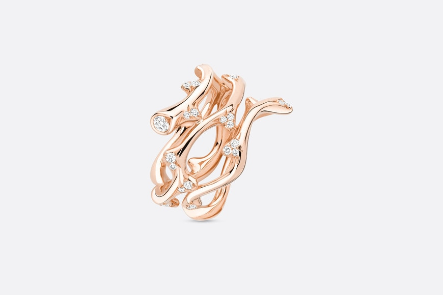 Bois de Rose ring in 18k pink gold and diamonds aria_threeQuarterOpenedView