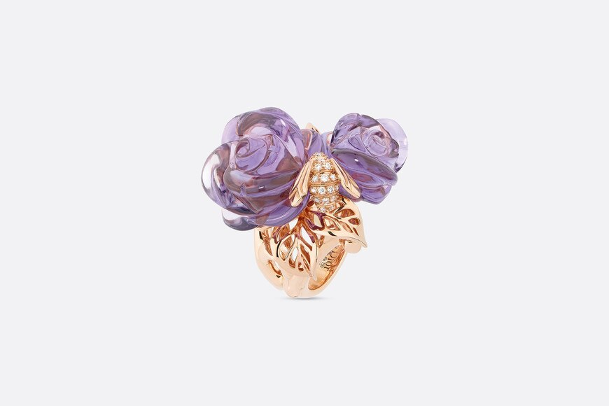 Rose Dior Pré Catelan ring, large model, in 18k pink gold and amethysts aria_threeQuarterOpenedView