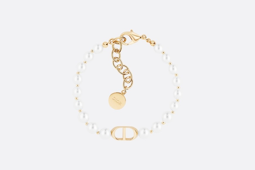 White Resin Bead 30 Montaigne Gold Finish Bracelet aria_topShotView