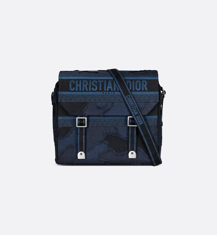 blue diorcamp camouflage embroidered canvas messenger bag | Dior