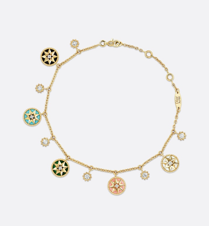 bracelet rose des vents en or jaune 750/1000e, diamants et pierres dures | Dior