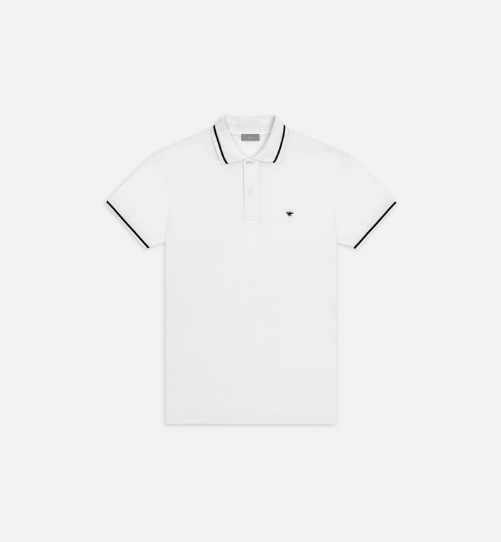 polo shirt, black bee embroidery, white piqué | Dior