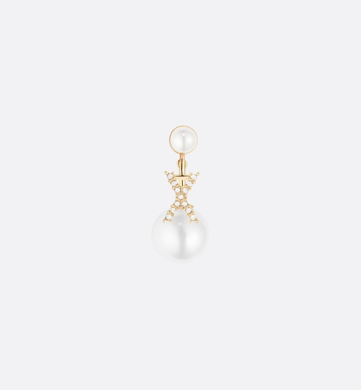 white crystal letter 'x' my abcdior tribales gold finish earring | Dior