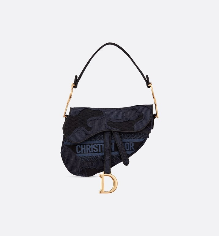blue saddle camouflage embroidered canvas bag | Dior