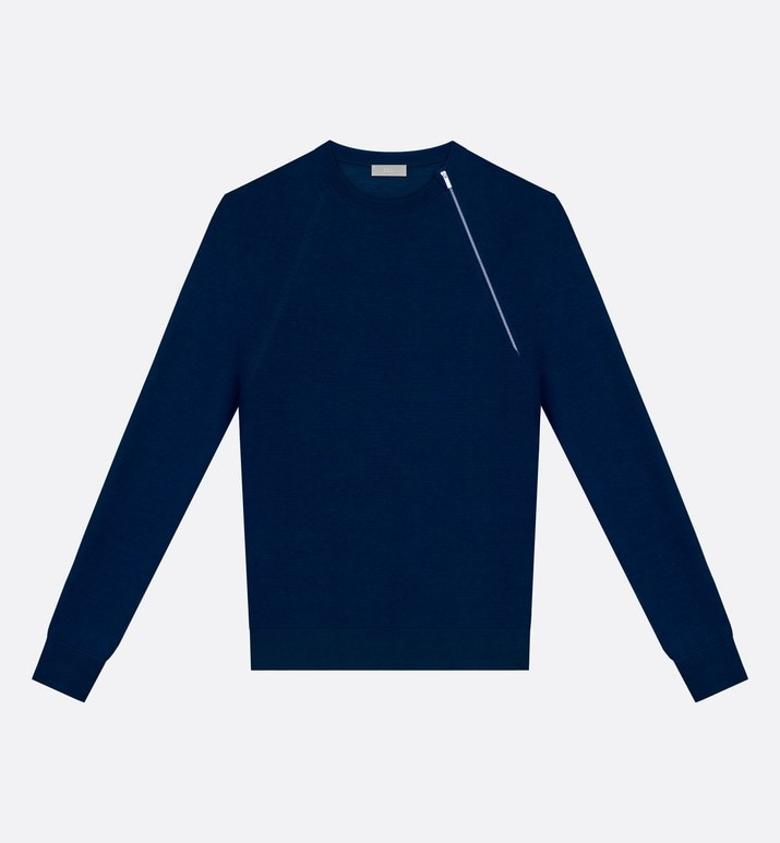 round neck sweater, zip at the shoulder, blue wool | Dior