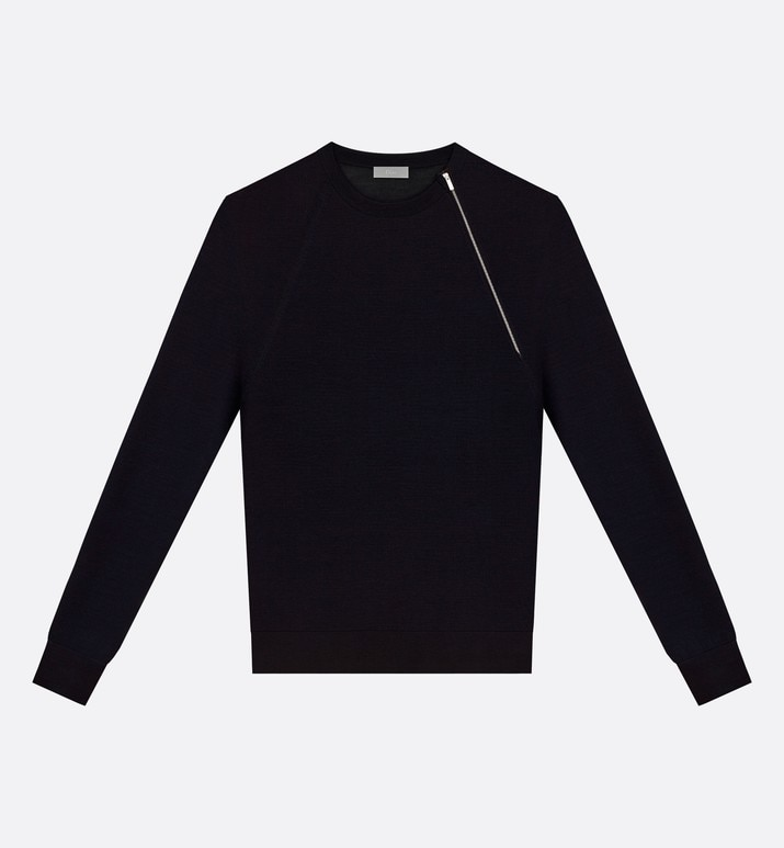 black virgin wool sweater with asymmetric zip | Dior
