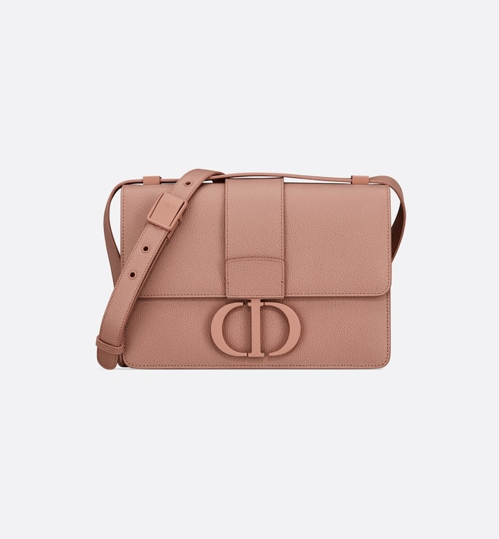 matte blush 30 montaigne stamped grain calfskin flap bag | Dior