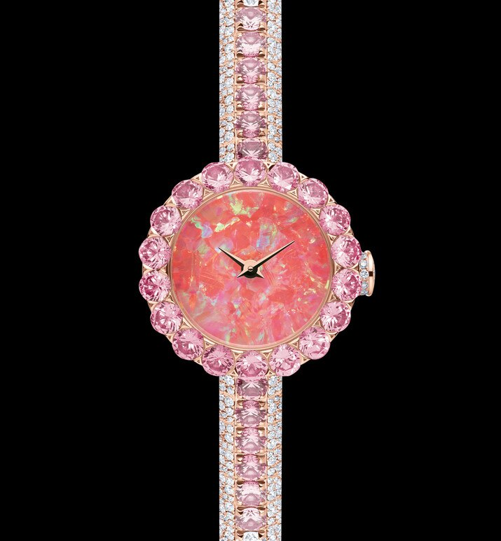 la d de dior précieuse opal and pink sapphires ø 21 mm, quartz movement | Dior