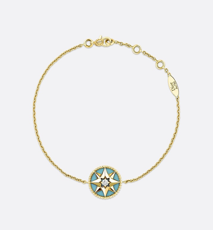 rose des vents bracelet, 18k yellow gold, diamond and turquoise | Dior