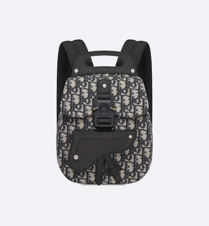 navy blue dior oblique jacquard mini saddle backpack | Dior
