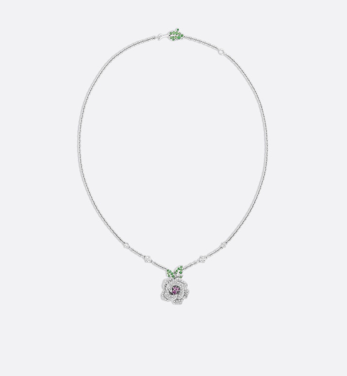rose dior bagatelle necklace, medium model, in 18k white gold and pink sapphires | Dior