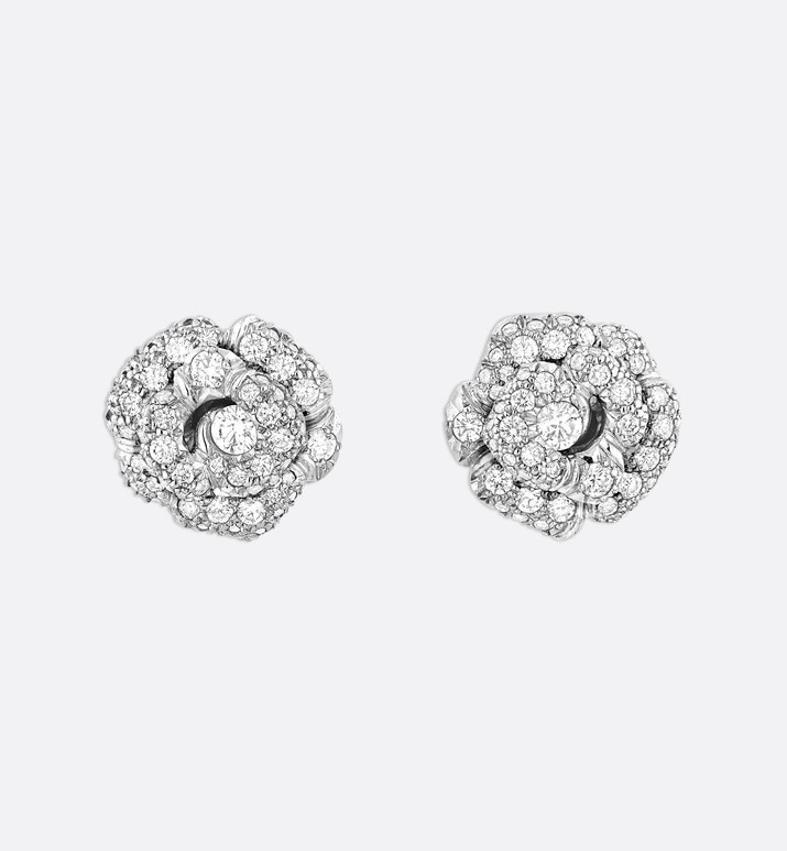 rose dior bagatelle earrings, small model, in 18k white gold and diamonds | Dior