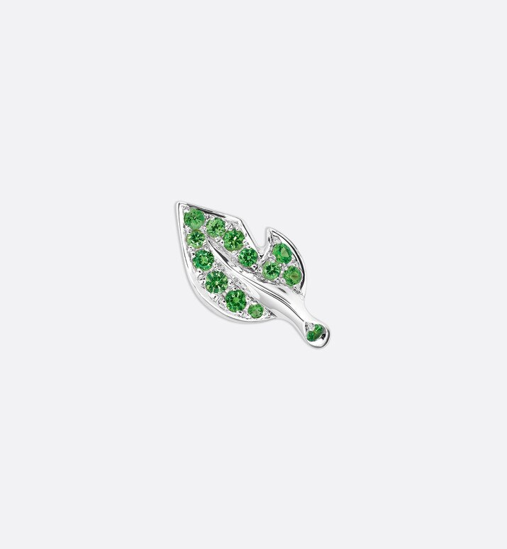 rose dior bagatelle earring in 18k white gold and tsavorite garnets | Dior