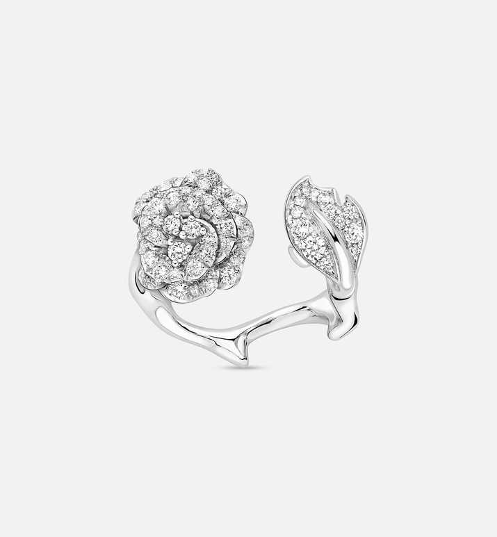 rose dior bagatelle ring in 18k white gold and diamonds | Dior