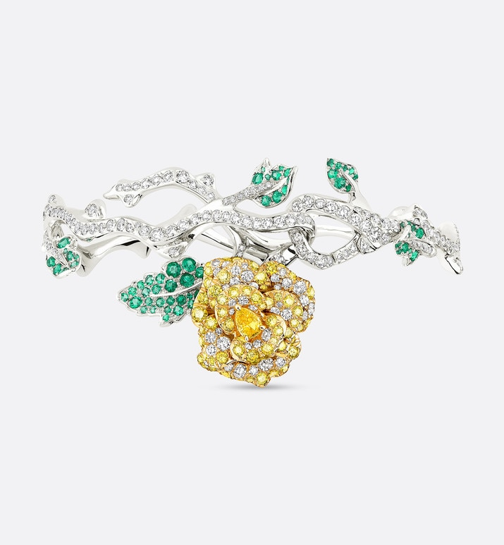 rose dior bagatelle bracelet in 18k white gold and yellow diamonds | Dior