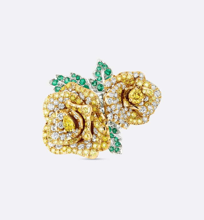 rose dior bagatelle-ring, groot model, in 18k witgoud met gele diamanten | Dior