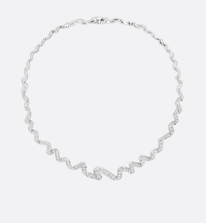 archi dior diorama necklace in 18k white gold and diamonds | Dior