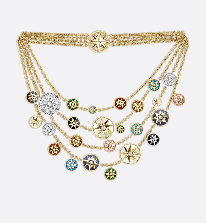 rose des vents necklace in 18k yellow and white gold, diamonds and hard stones | Dior