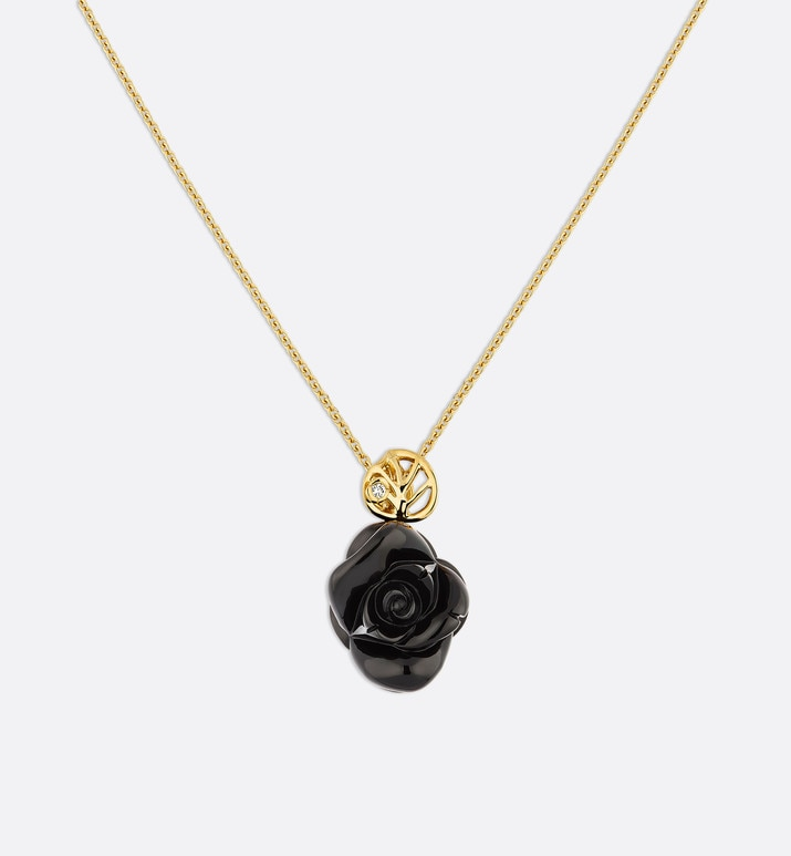 rose dior pré catelan necklace in 18k yellow gold and onyx | Dior