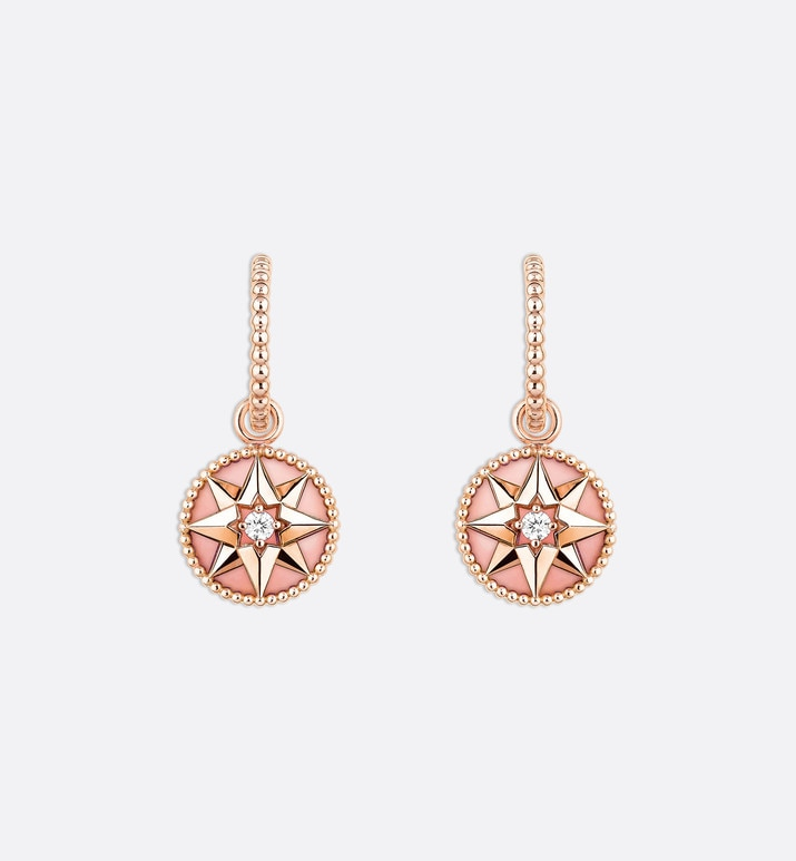 rose des vents earrings, 18k pink gold, diamonds and pink opal | Dior
