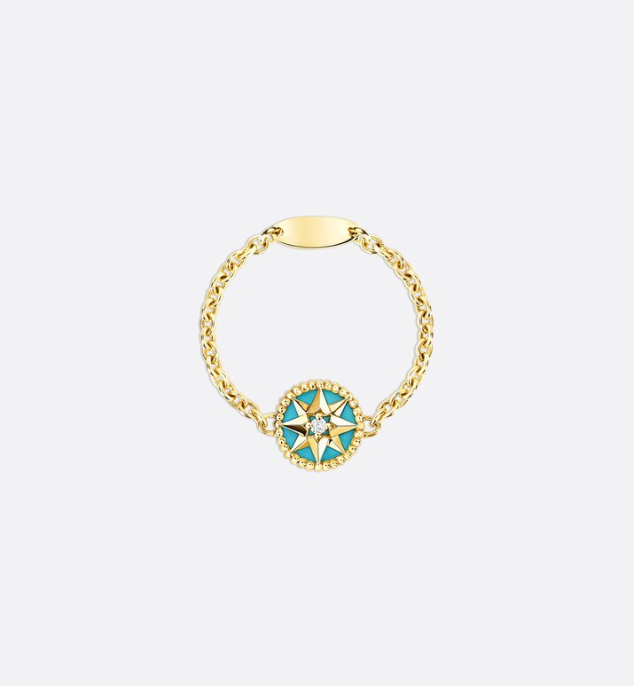 rose des vents xs ring, 18k yellow gold, diamond and turquoise | Dior