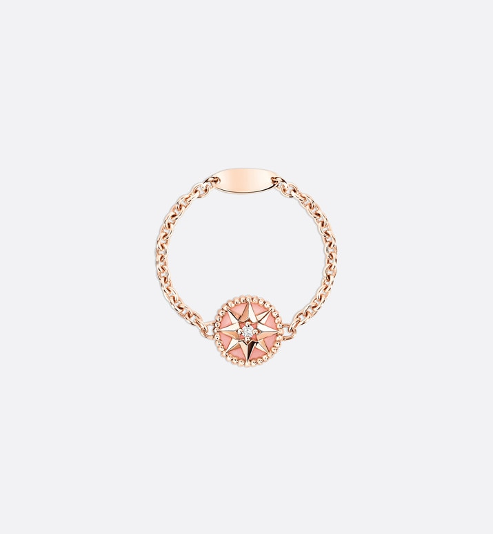 rose des vents xs ring, 18k pink gold, diamond and pink opal | Dior