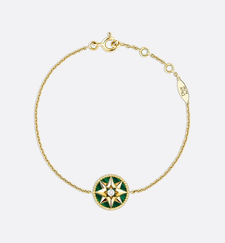 bracelet rose des vents, or jaune 750/1000e, diamant et malachite | Dior