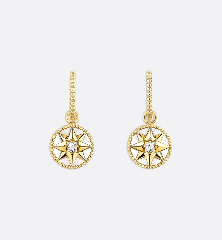 boucles d'oreilles rose des vents, or jaune 750/1000e, diamants et nacre | Dior