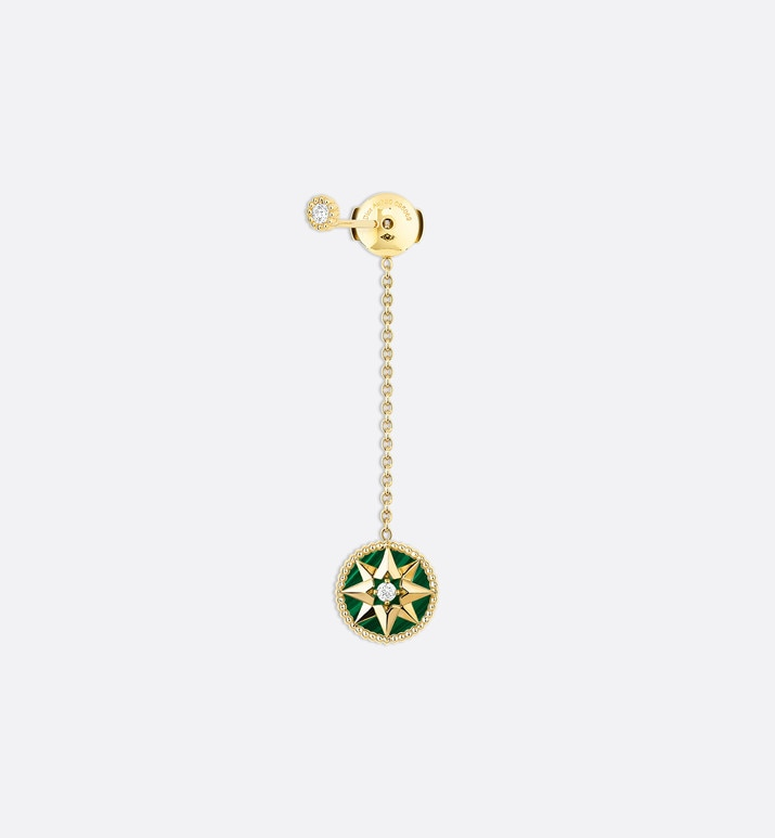 boucle d'oreille rose des vents, or jaune 750/1000e, diamants et malachite | Dior