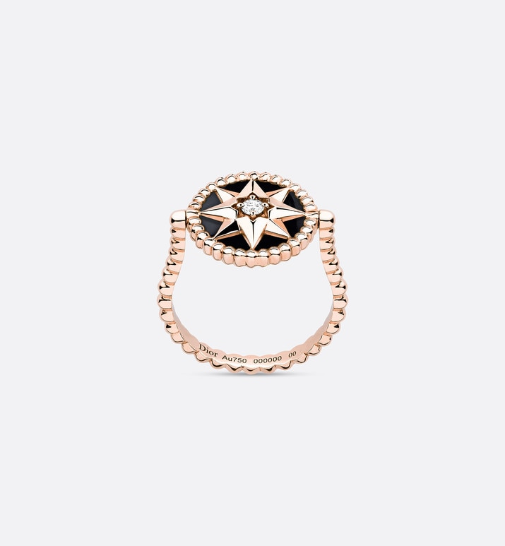 rose des vents ring, 18k pink gold, diamond and onyx | Dior