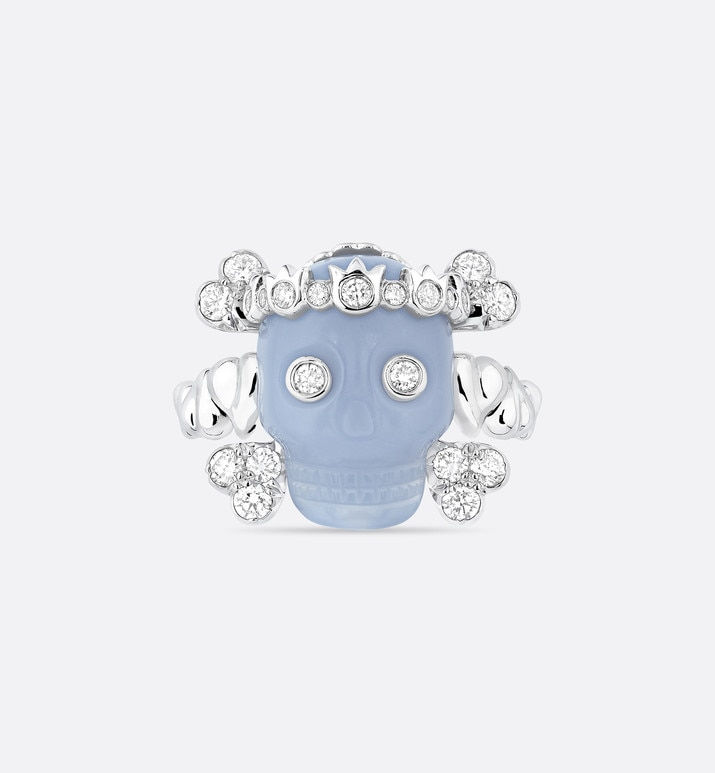 tete de mort skull ring in 18k white gold, diamonds and blue chalcedony | Dior