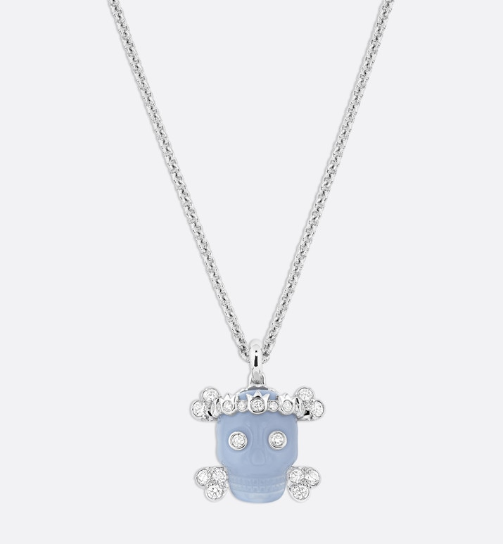 collier tête de mort, or blanc 750/1000e, diamants et calcédoine bleue | Dior