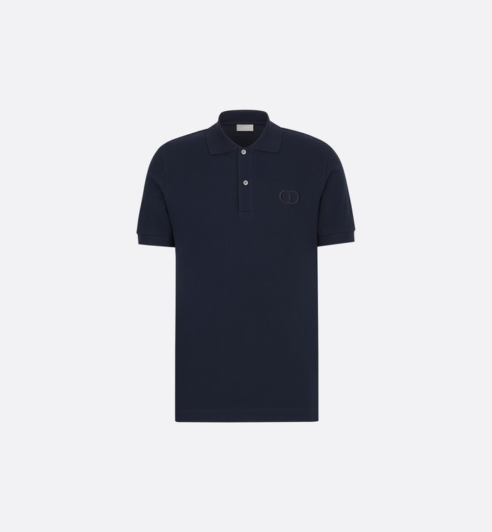 navy cotton piqué polo shirt with 'cd icon' logo | Dior